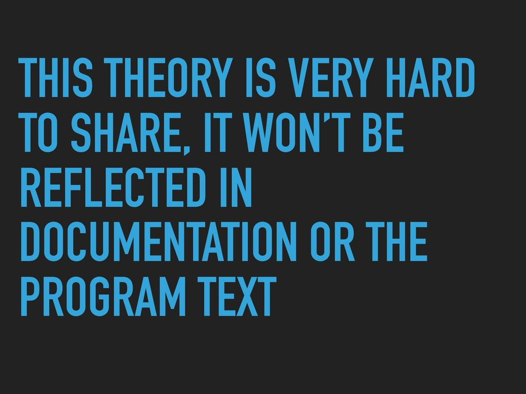 THIS THEORY IS VERY HARD TO SHARE, IT WON'T BE ...