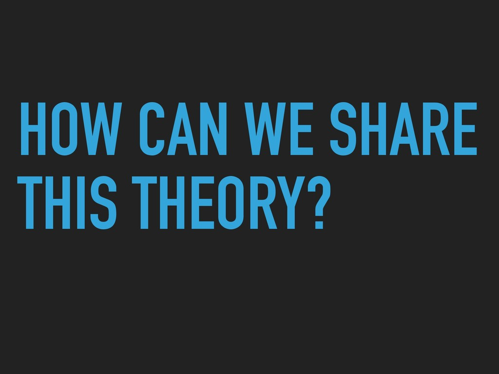 HOW CAN WE SHARE THIS THEORY?