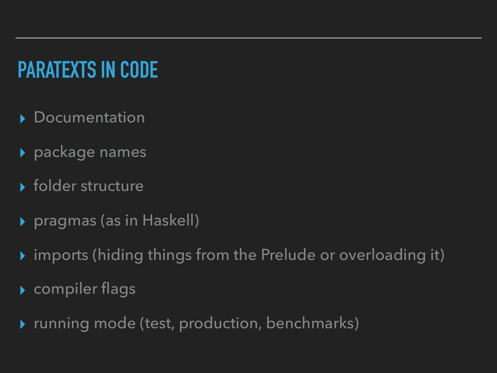 PARATEXTS IN CODE ▸ Documentation ▸ package nam...