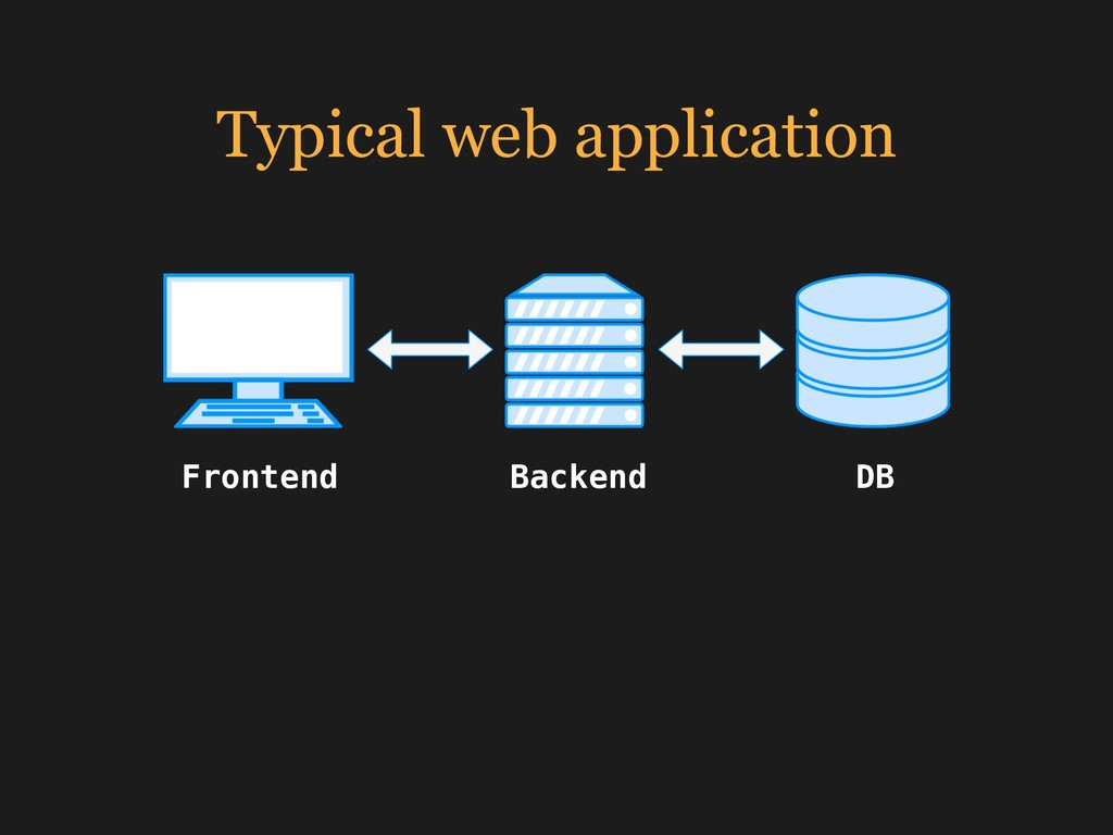 Typical web application Frontend Backend DB
