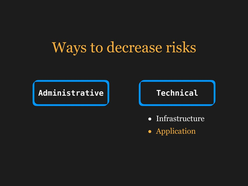 Ways to decrease risks Administrative Technical...