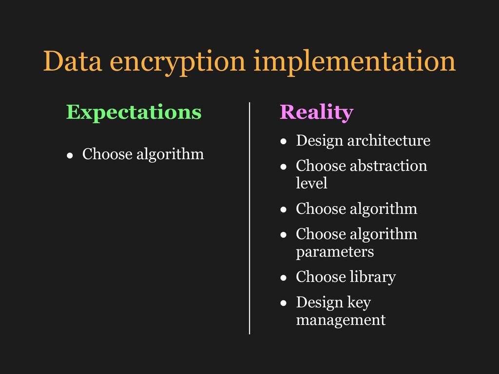 Data encryption implementation • Choose algorit...