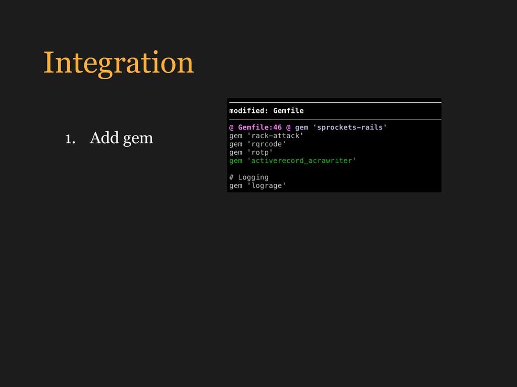 Integration 1. Add gem