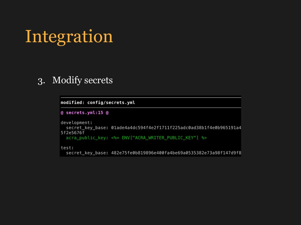 Integration 3. Modify secrets