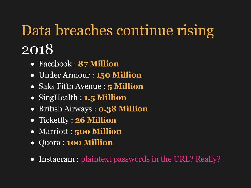 Data breaches continue rising 2018 • Facebook :...