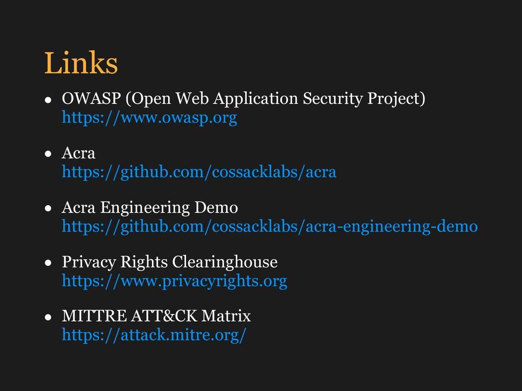 Links • OWASP (Open Web Application Security Pr...
