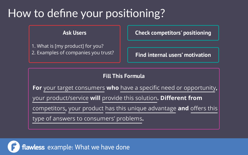 How to define your posi0oning? Ask Users 1. What...