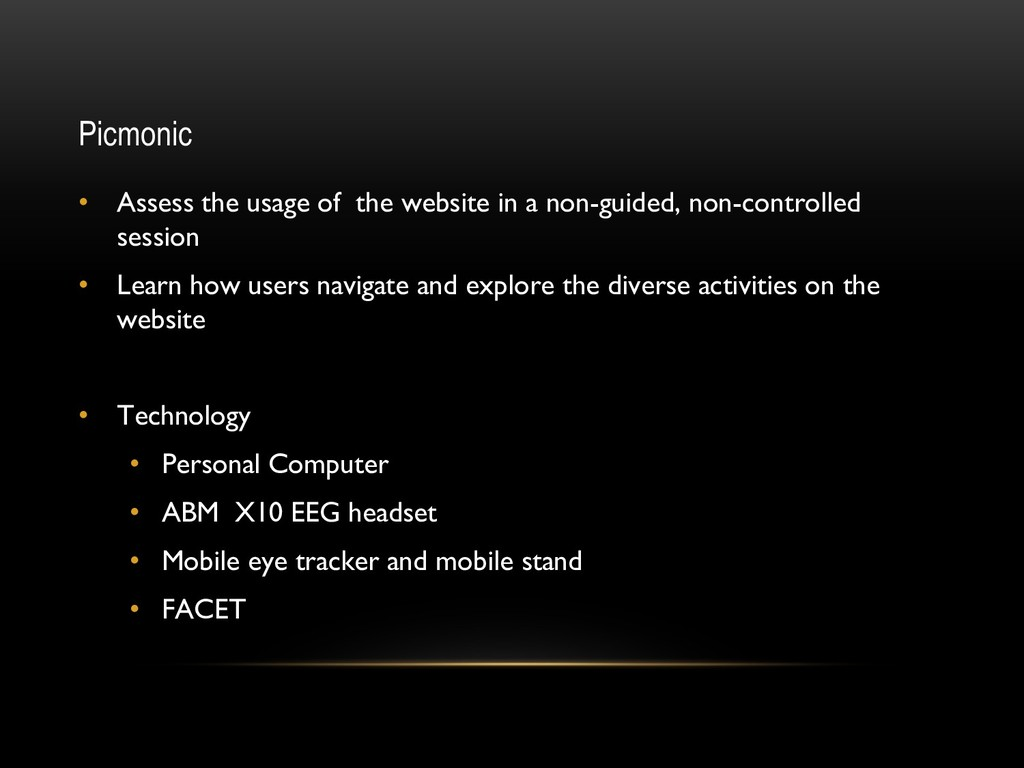 Picmonic • Assess the usage of the website in a...