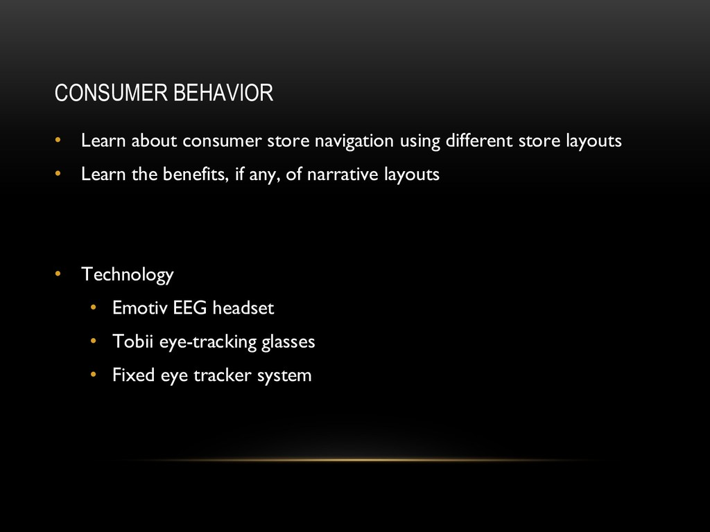 CONSUMER BEHAVIOR • Learn about consumer store ...