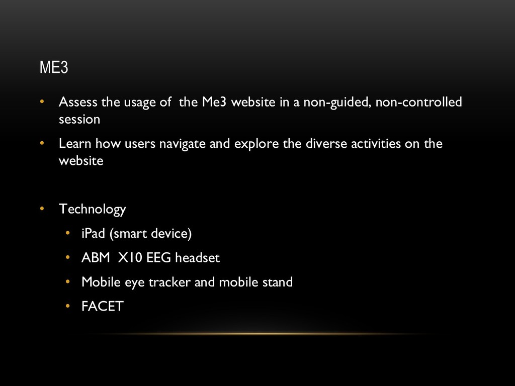 ME3 • Assess the usage of the Me3 website in a ...