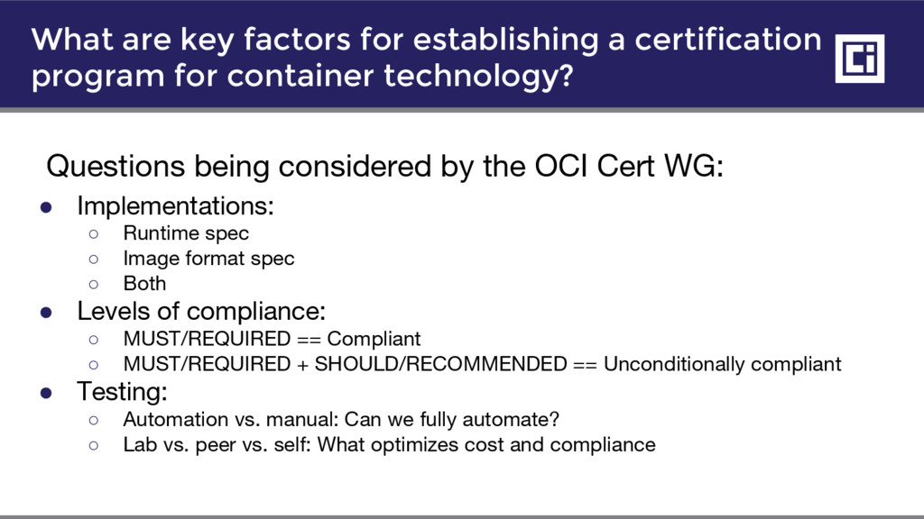 What are key factors for establishing a certifi...