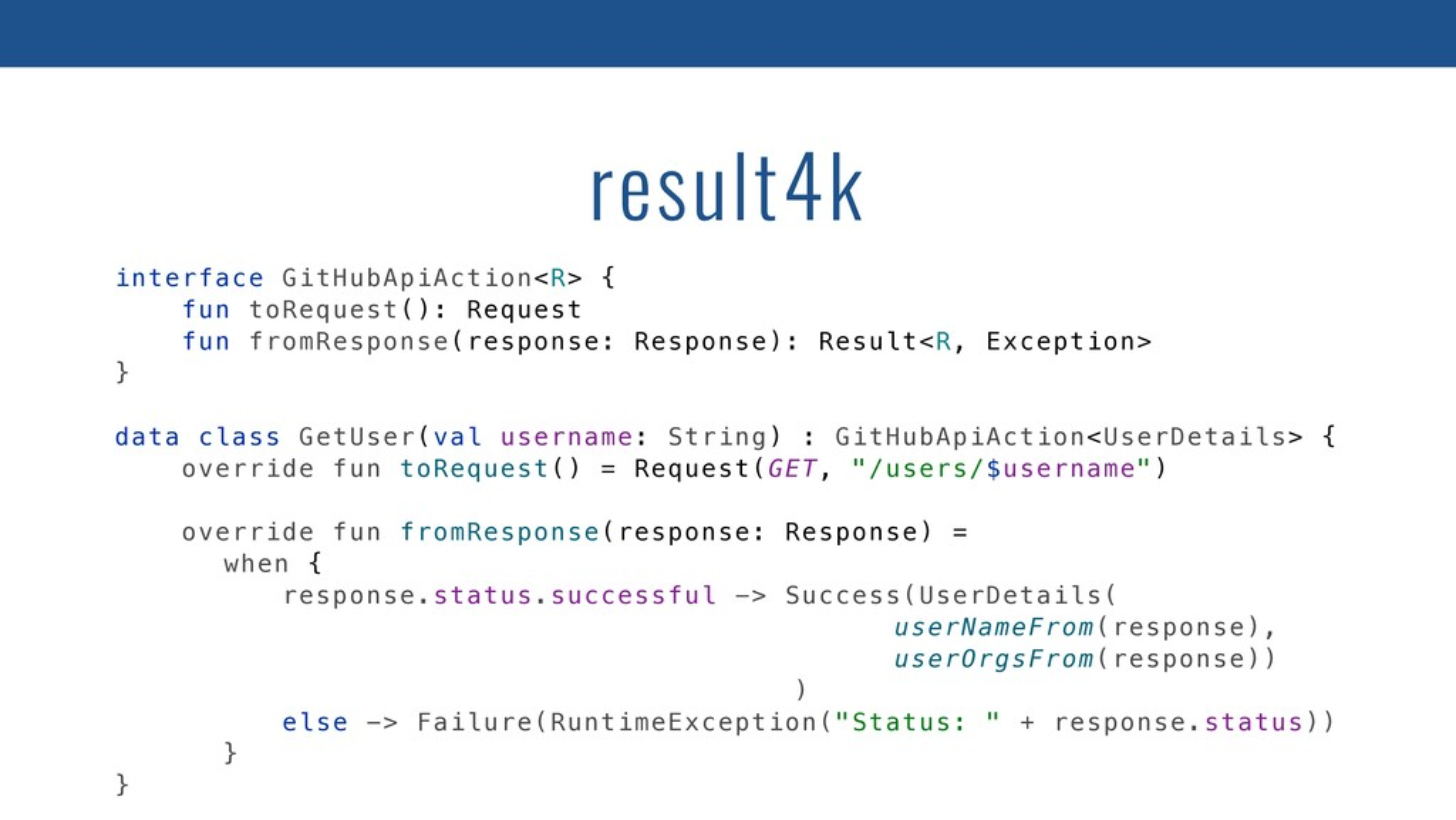 interface GitHubApiAction<R> { fun toRequest():...