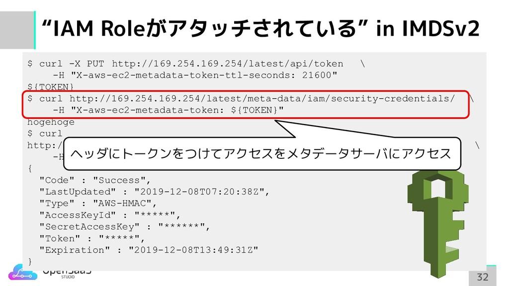 """""""IAM Roleがアタッチされている"""" in IMDSv2 32 32 $ curl -X ..."""
