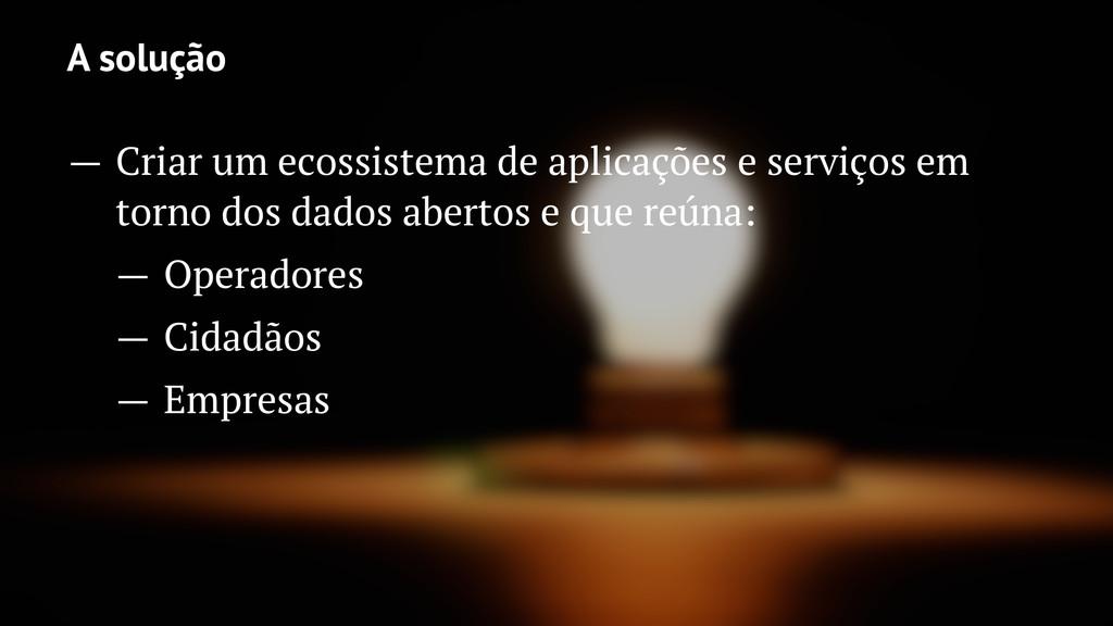 A solução — Criar um ecossistema de aplicações ...