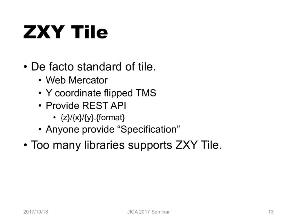 ZXY Tile • De facto standard of tile. • Web Mer...