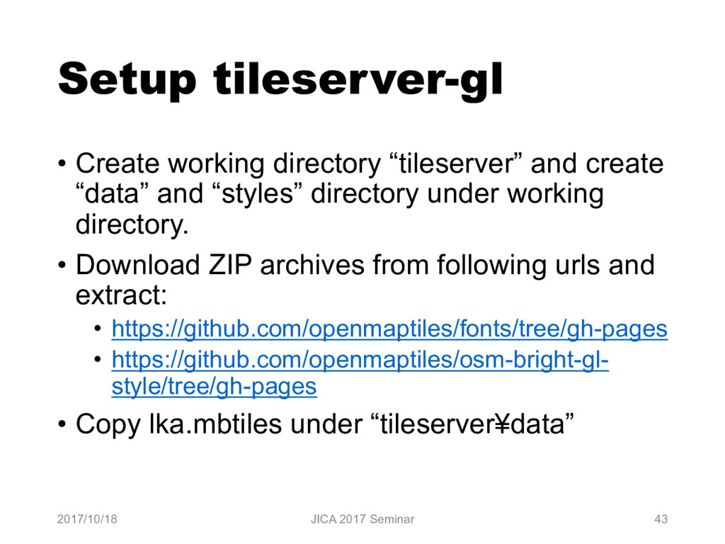 Setup tileserver-gl • Create working directory ...