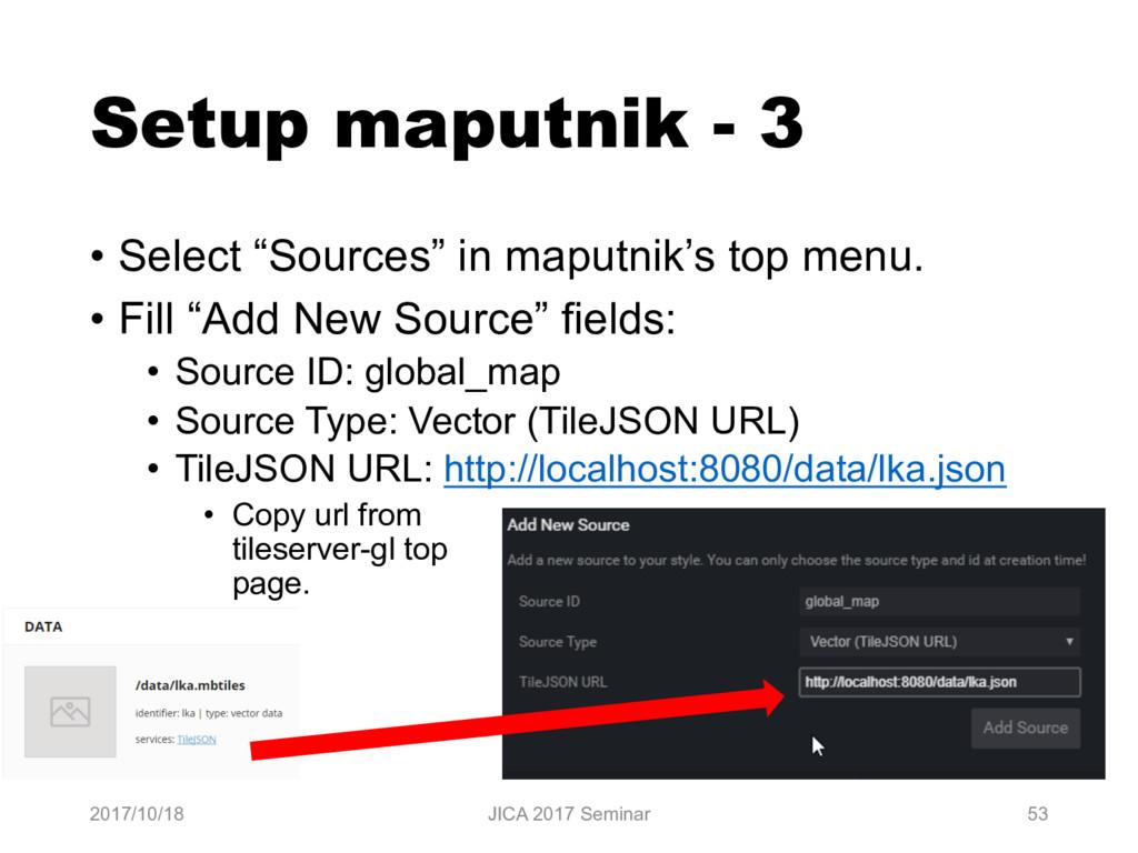 """Setup maputnik - 3 • Select """"Sources"""" in maputn..."""