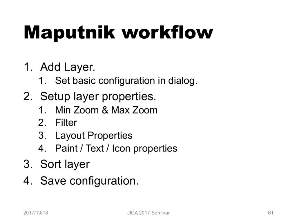 Maputnik workflow 1. Add Layer. 1. Set basic co...