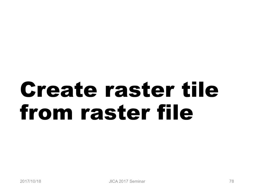 Create raster tile from raster file 2017/10/18 ...