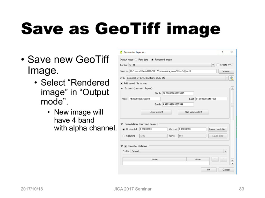 Save as GeoTiff image 2017/10/18 JICA 2017 Semi...