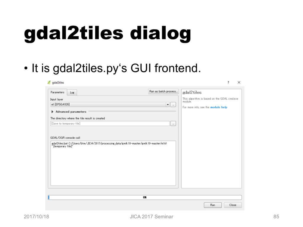 gdal2tiles dialog • It is gdal2tiles.py's GUI f...