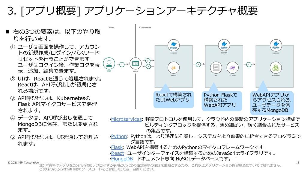 3. [アプリ概要] アプリケーションアーキテクチャ概要 © 2021 IBM Corpora...