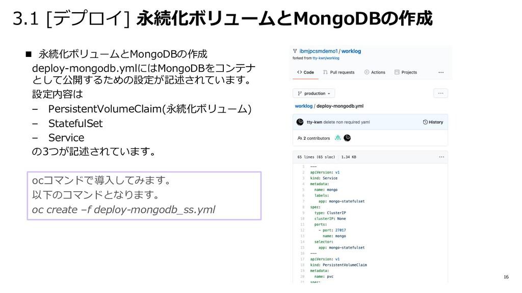 3.1 [デプロイ] 永続化ボリュームとMongoDBの作成 16 n 永続化ボリュームとMo...