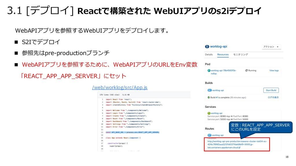 3.1 [デプロイ] Reactで構築された WebUIアプリのs2iデプロイ 18 WebA...