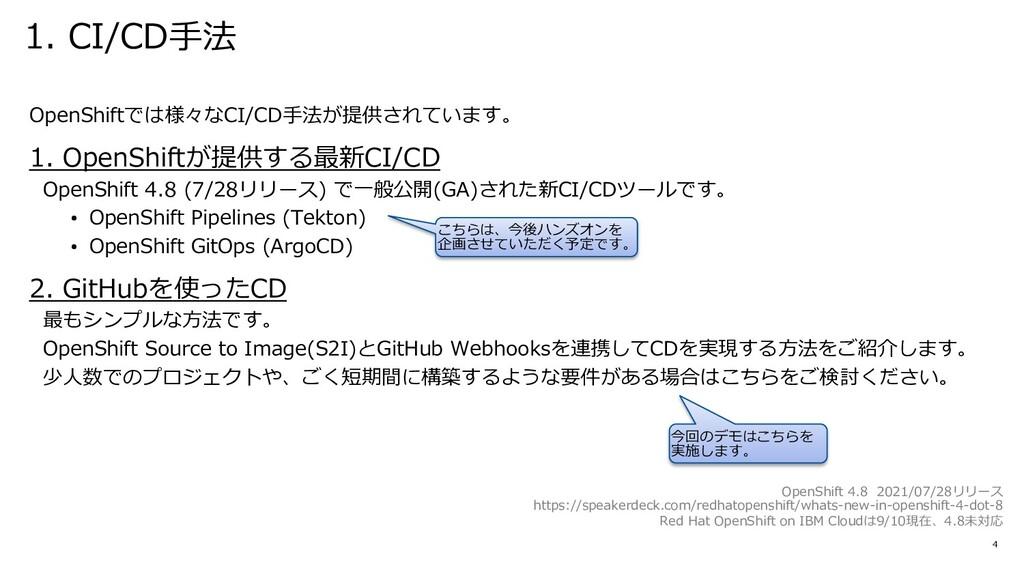1. CI/CD⼿法 4 OpenShiftでは様々なCI/CD⼿法が提供されています。 1....