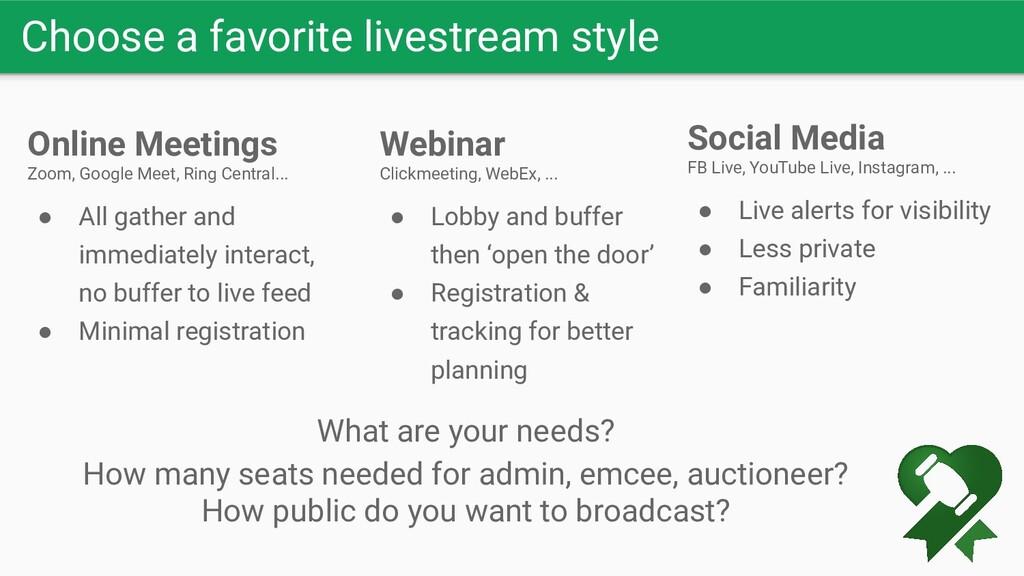 Choose a favorite livestream style Online Meeti...