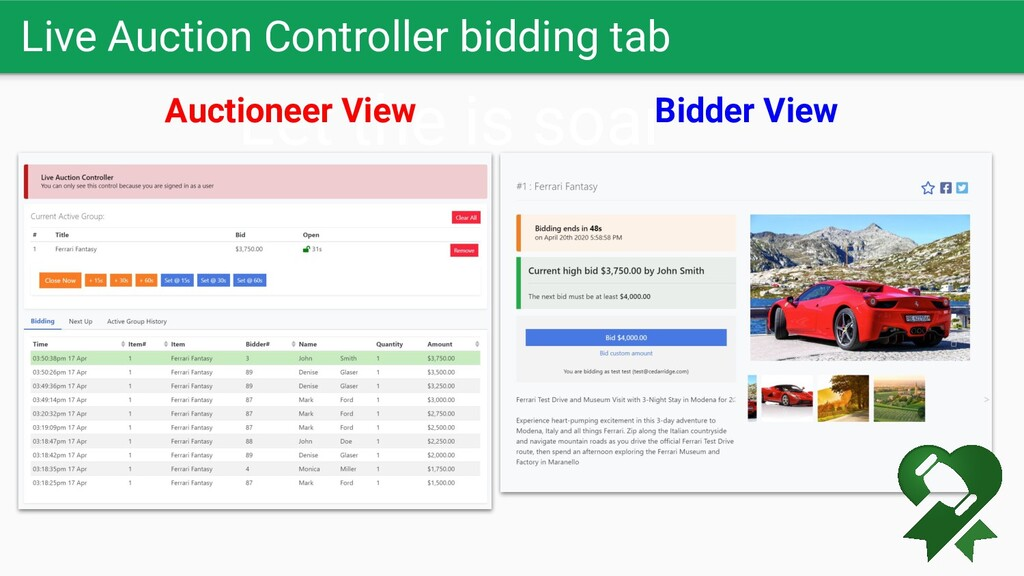 Live Auction Controller bidding tab Let the is ...