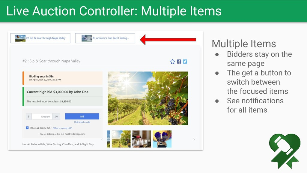 Live Auction Controller: Multiple Items Multipl...