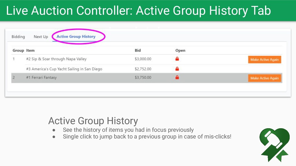 Live Auction Controller: Active Group History T...