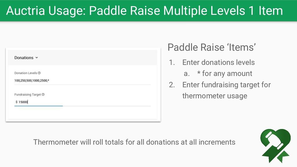 Auctria Usage: Paddle Raise Multiple Levels 1 I...