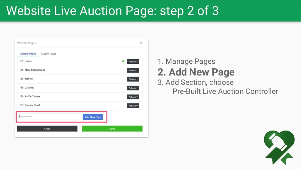 Website Live Auction Page: step 2 of 3 1. Manag...