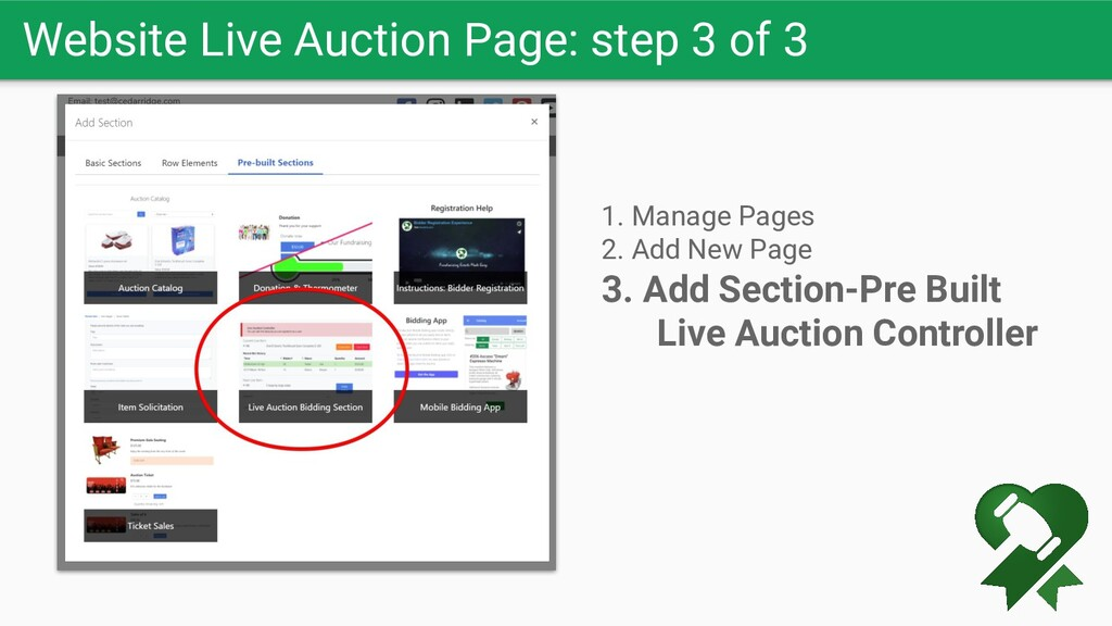 Website Live Auction Page: step 3 of 3 1. Manag...