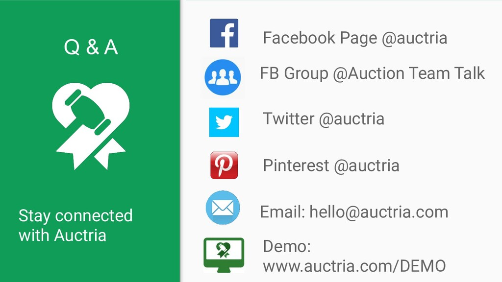 Stay connected with Auctria Facebook Page @auct...
