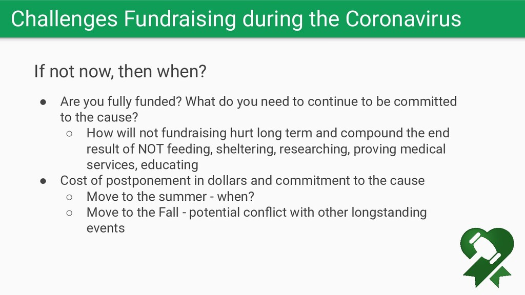 Challenges Fundraising during the Coronavirus I...
