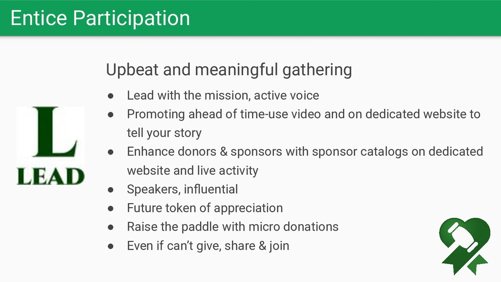 Entice Participation Upbeat and meaningful gath...