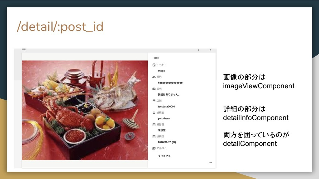 /detail/:post_id 画像の部分は imageViewComponent 詳細の部...