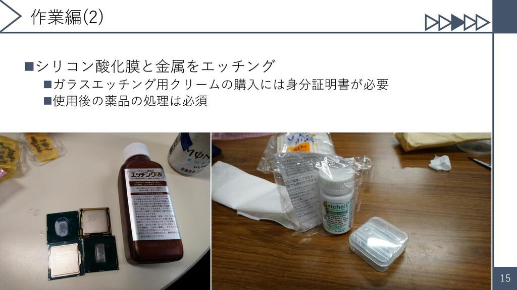 15 作業編(2) ◼シリコン酸化膜と金属をエッチング ◼ガラスエッチング用クリームの購入には...