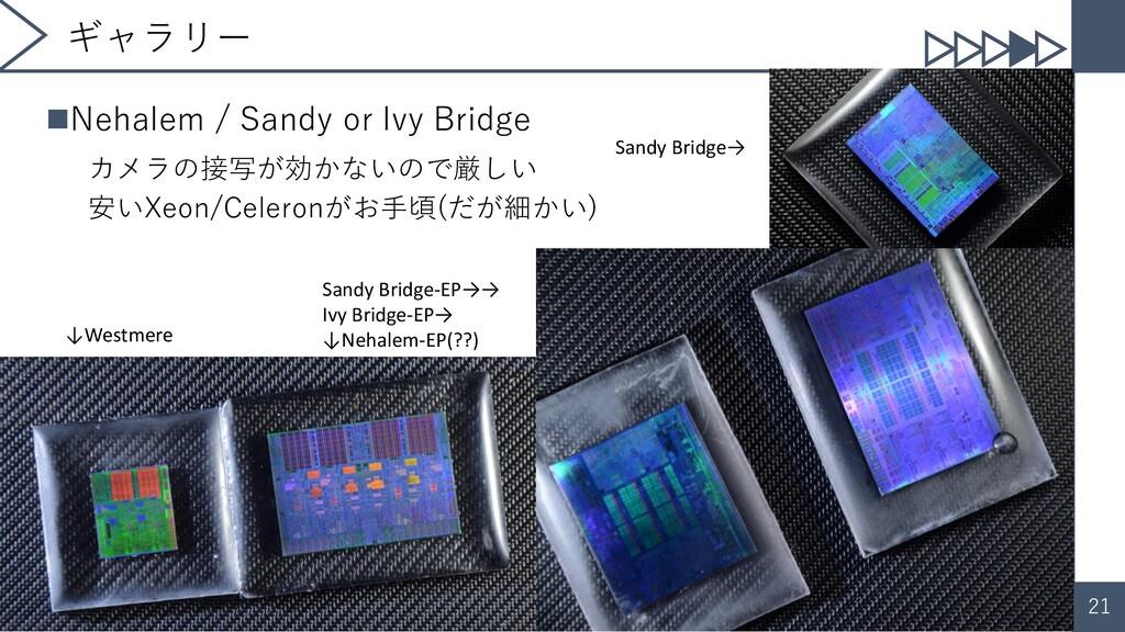 21 ギャラリー ◼Nehalem / Sandy or Ivy Bridge カメラの接写が...