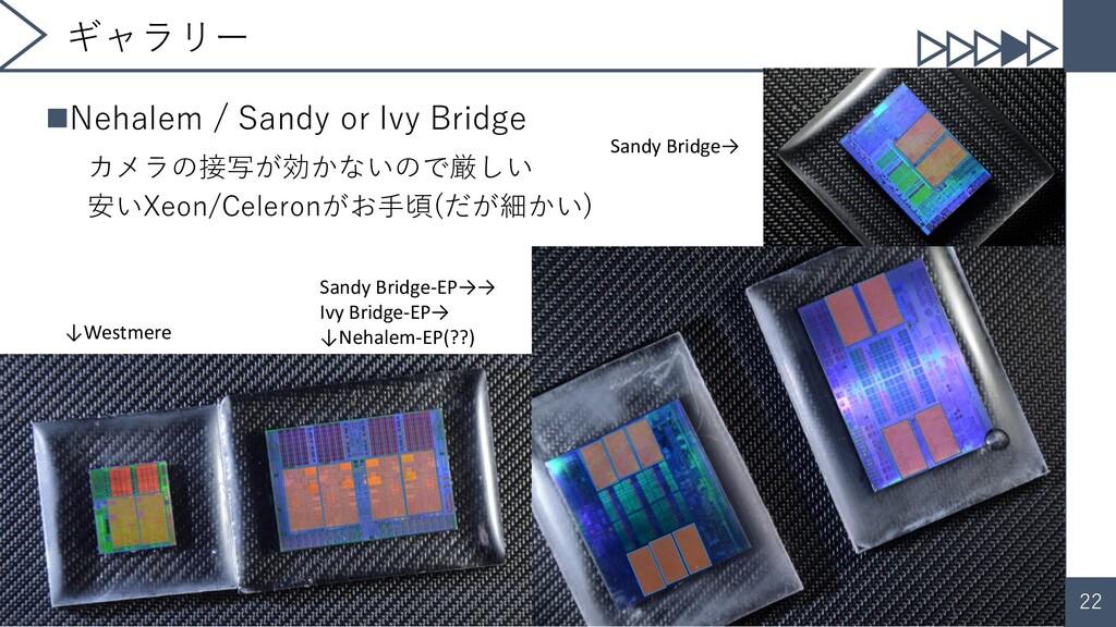 22 ギャラリー ◼Nehalem / Sandy or Ivy Bridge カメラの接写が...