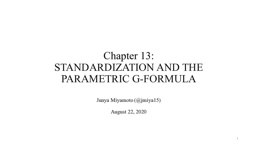 Chapter 13: STANDARDIZATION AND THE PARAMETRIC ...