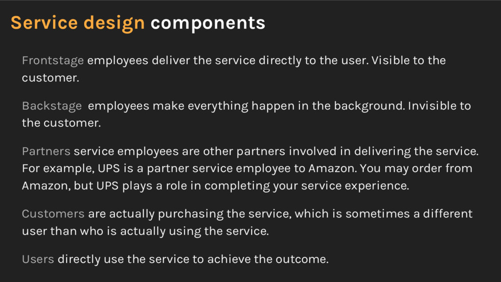 Service design components Frontstage employees ...