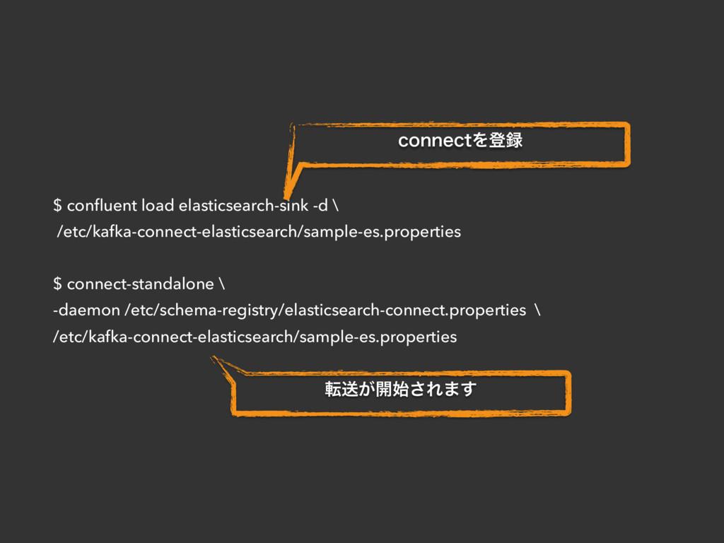 $ confluent load elasticsearch-sink -d \ /etc/ka...