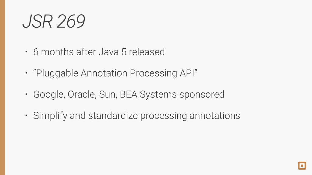 """JSR 269 • 6 months after Java 5 released • """"Plu..."""