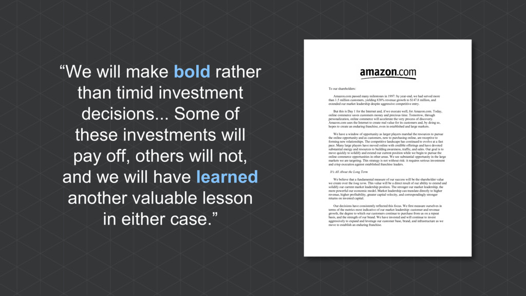 """We will make bold rather than timid investment..."