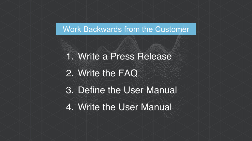 Work Backwards from the Customer 1. Write a Pre...