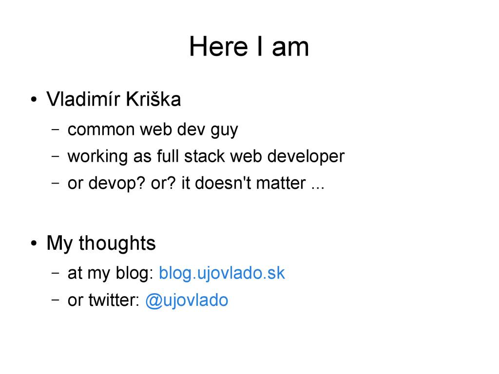 Here I am ● Vladimír Kriška – common web dev gu...